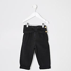Schwarze Mom-Jeans mit Schleife am Bund für kleine Mädchen