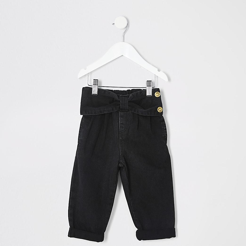 Mini girls black bow waist Mom jeans