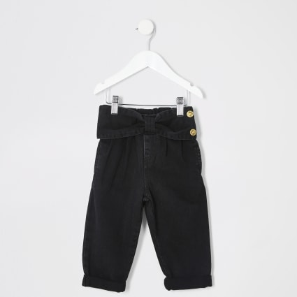 Mini girls black bow waist Mom jeans