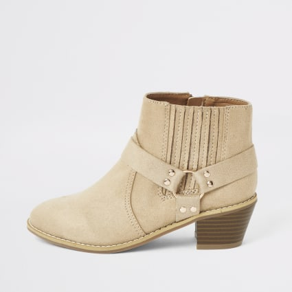 Girls beige faux suede western heeled boot
