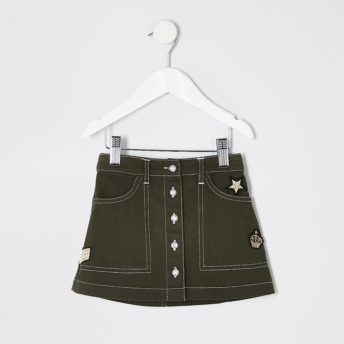Mini girls khaki utility skirt