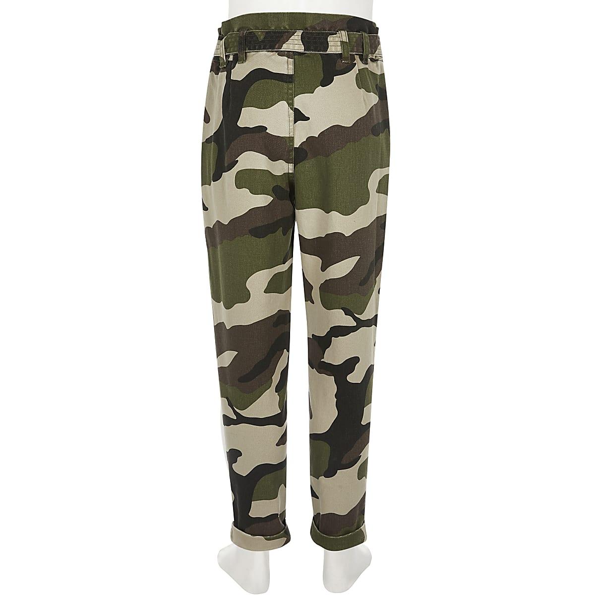 97d56b3569 Girls khaki camo cargo trousers