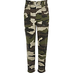 Girls khaki camo cargo trousers