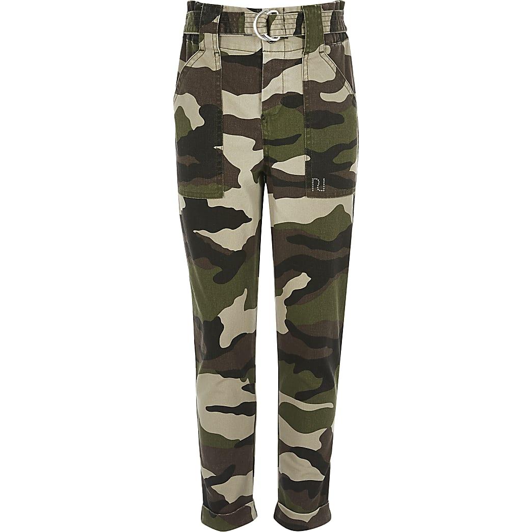 Girls khaki camo cargo trousers