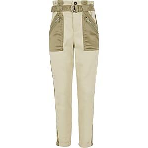 Pantalon kaki utilitaire en satin avec poches pour fille