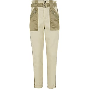 Kaki satijnen utility broek met zakken voor meisjes