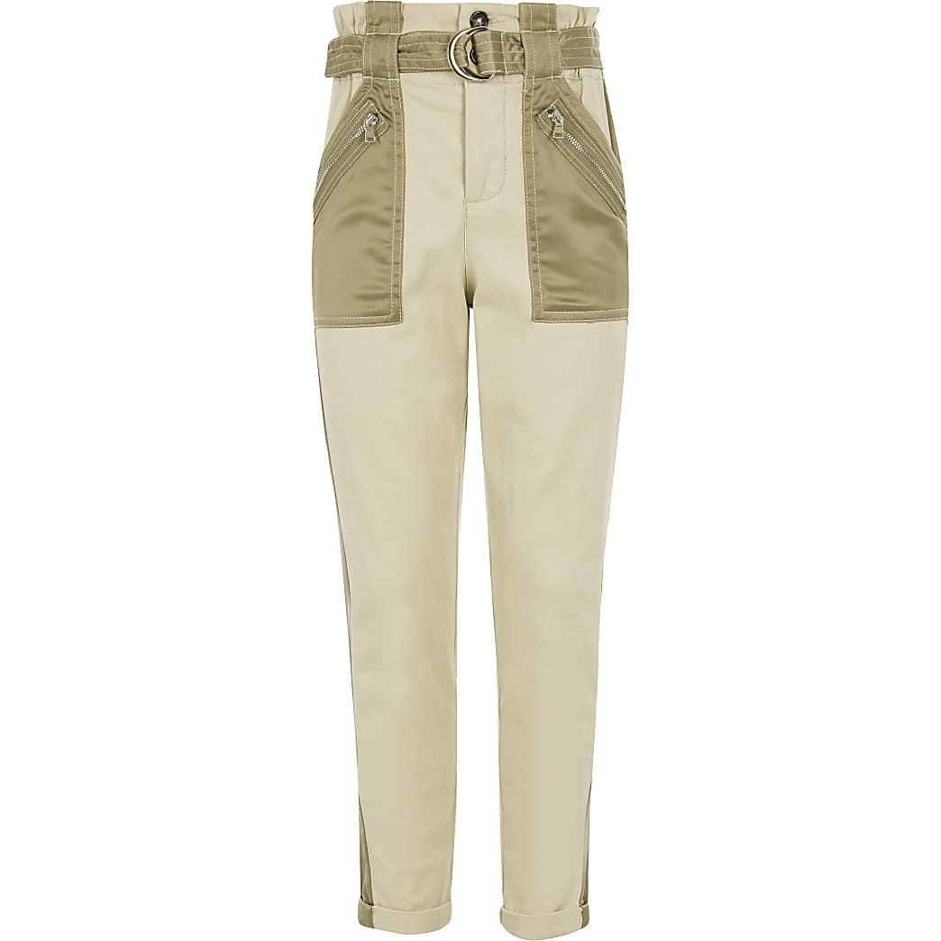 Girls khaki satin utility pocket trousers
