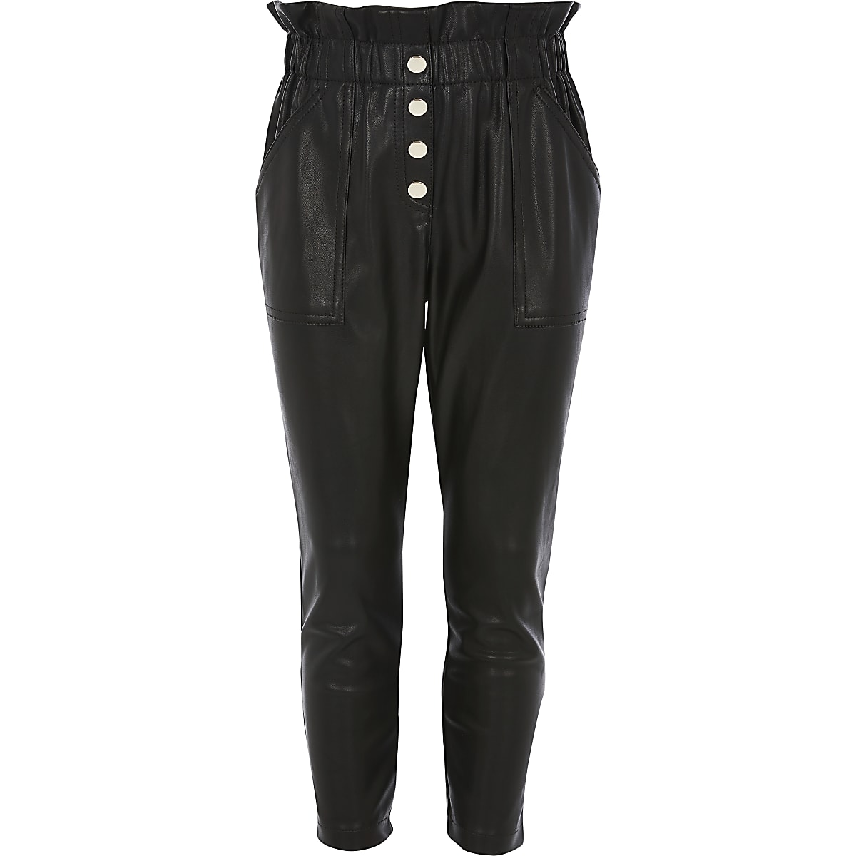 Girls black faux leather paperbag trousers