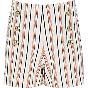 Girls coral stripe military shorts