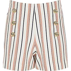 Girls coral stripe military shorts