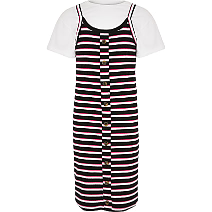 Girls pink stripe 2in1 dress