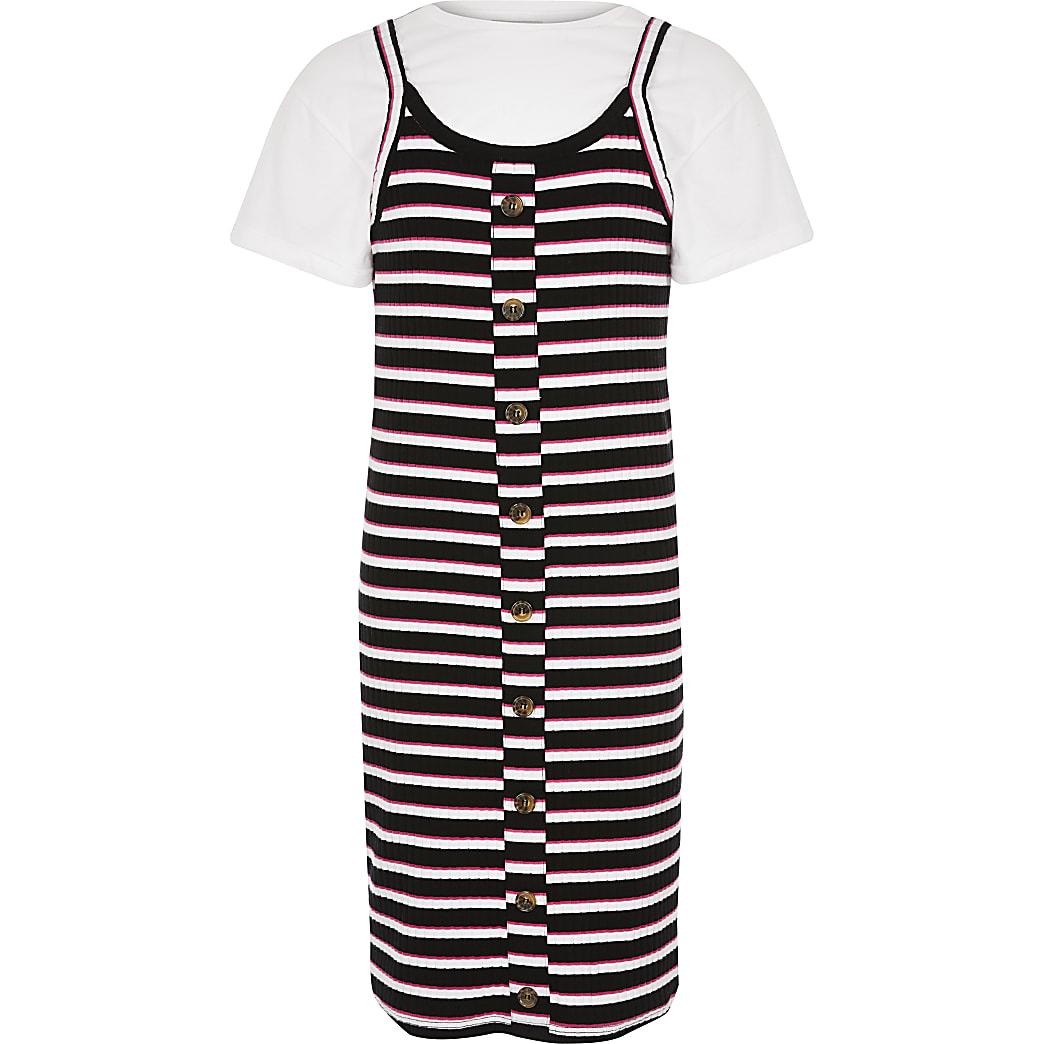 Girls pink stripe 2in1 dress