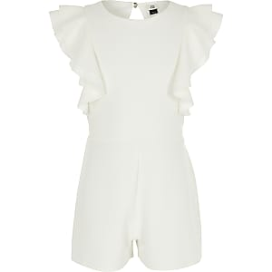 Girls white ruffle playsuit