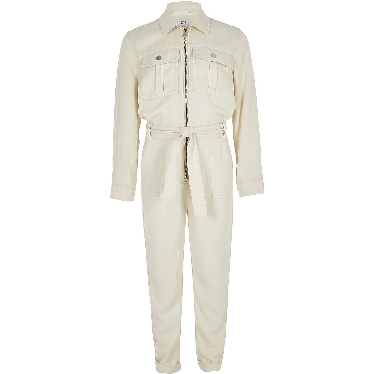 Girls cream utility jumpsuit