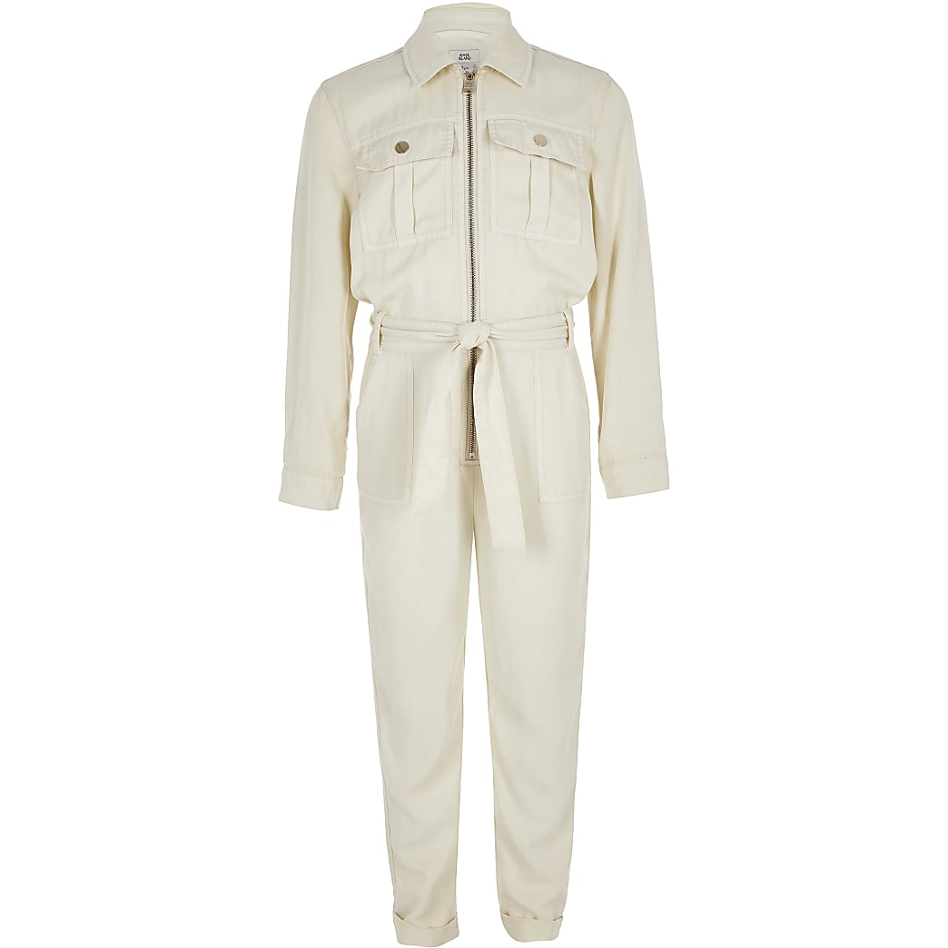 Girls cream utility jumpsuit