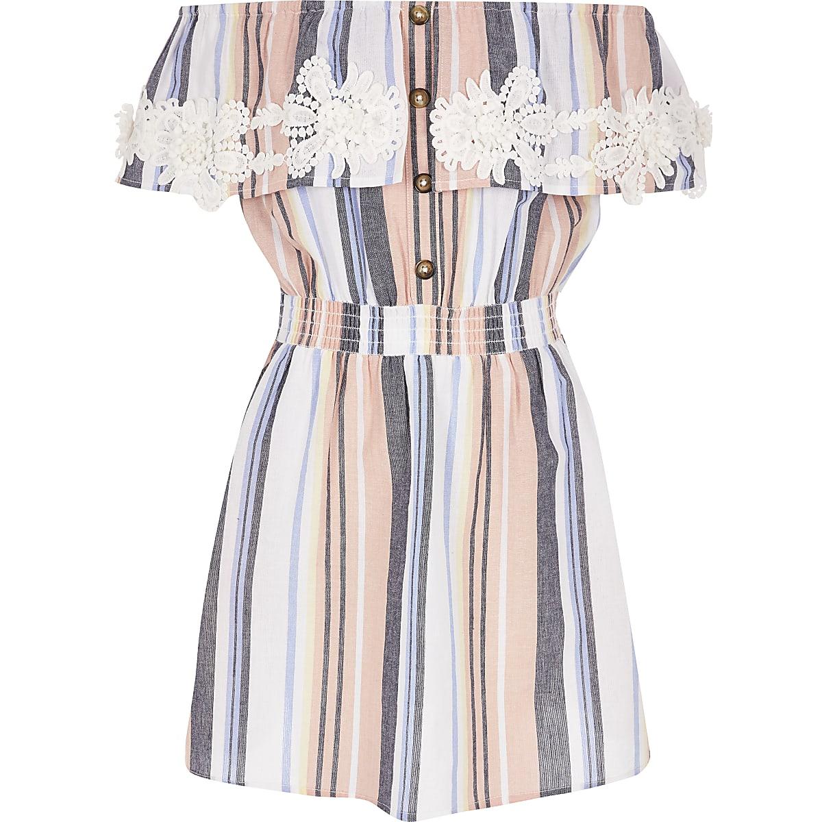 a5dfd900f92d Girls pink stripe crochet bardot dress - Day Dresses - Dresses - girls