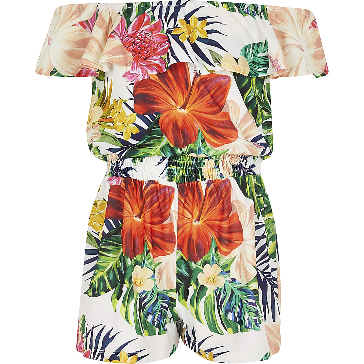 Girls white tropical print bardot romper