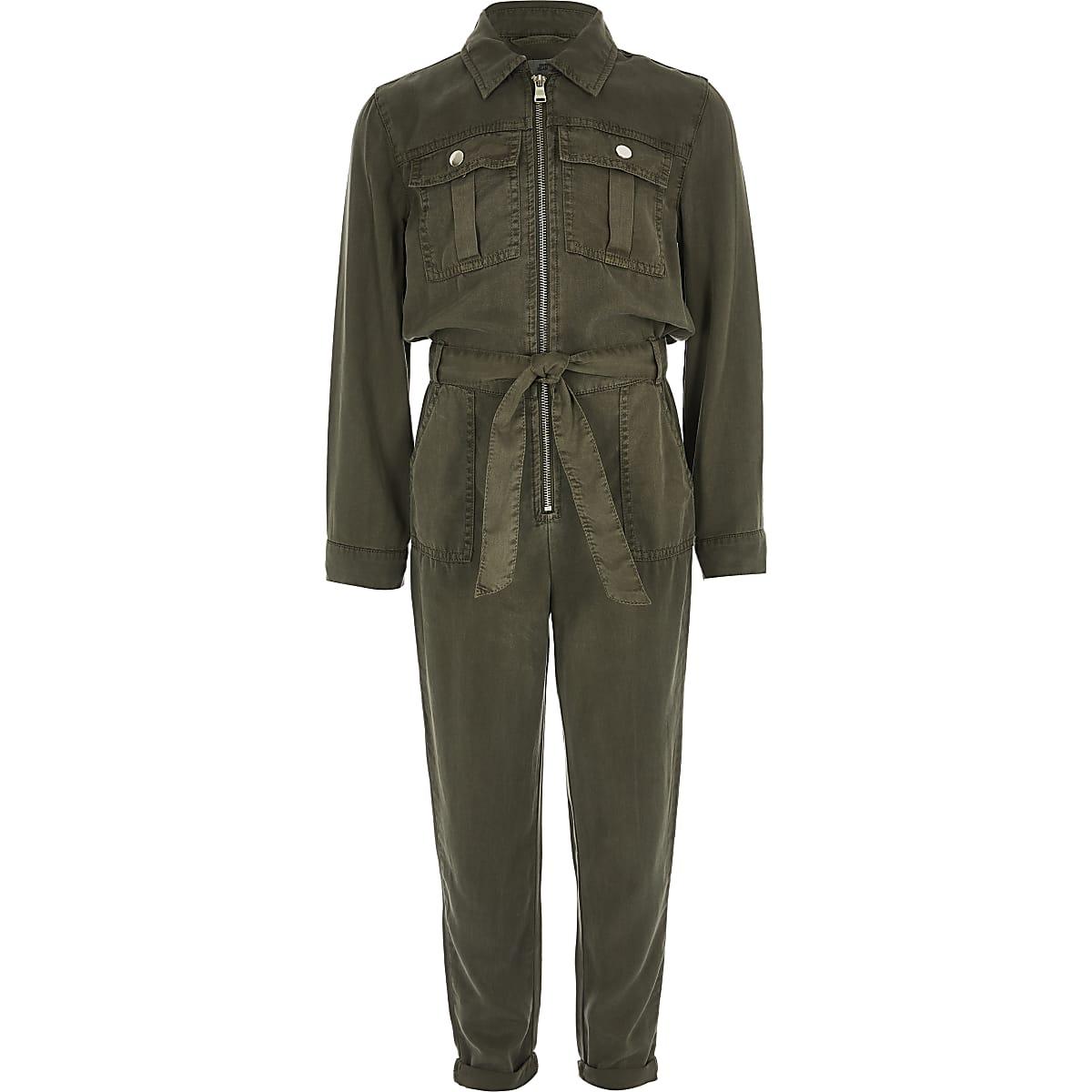 Girls khaki utility jumpsuit