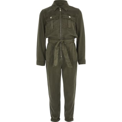 Girls khaki utility jumpsuit