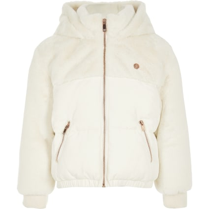 Girls cream faux fur hooded puffer jacket