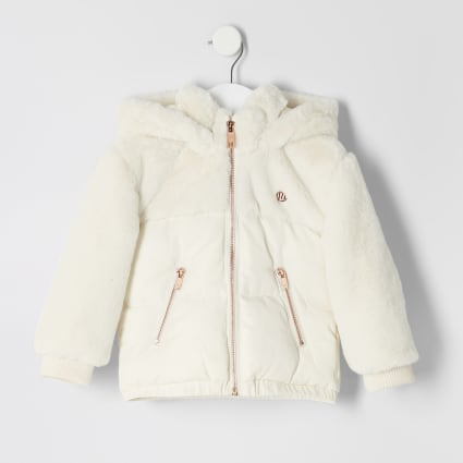 Mini girls cream faux fur puffer jacket