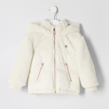 Mini girls cream faux fur puffer jacket