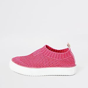 Mini girls neon pink sock plimsoll