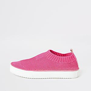 Roze gebreide gympen voor meisjes