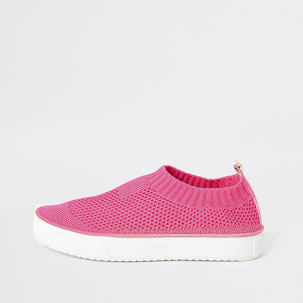 Girls pink knit plimsoll