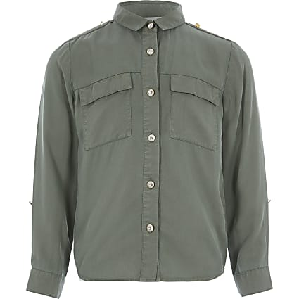 Girls khaki utility shirt