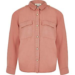 Girls pink utility shirt