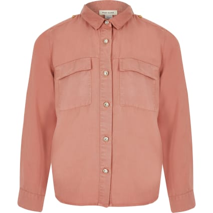 Girls pink utility shirt
