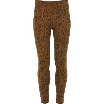 Girls brown faux suede leopard print leggings