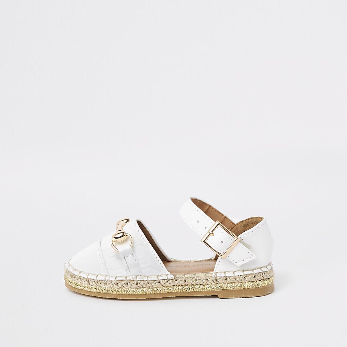Mini girls white RI espadrille sandals