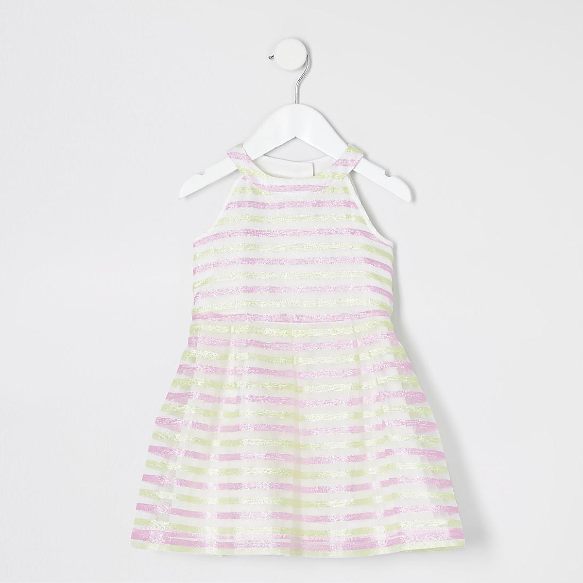 Mini girls pink stripe mesh prom dress