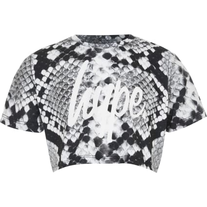 Girls Hype grey snake print crop top