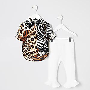 Ensemble avec chemise à imprimé animal blanche pour mini fille