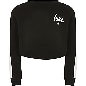 Hype – Kurz geschnittenes Sweatshirt in Schwarz für Mädchen