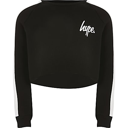 Girls Hype black cropped sweatshirt