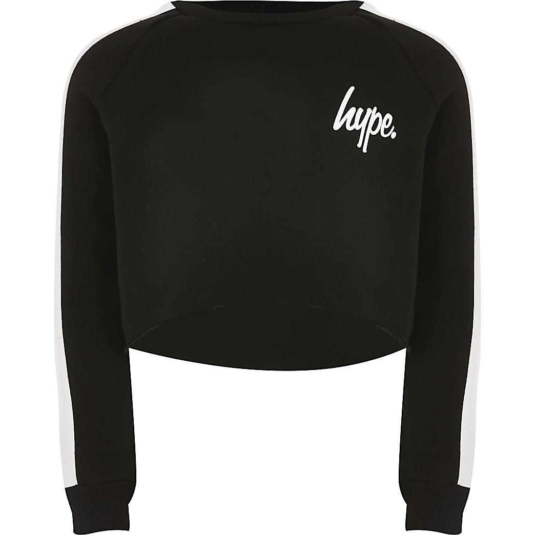 Girls Hype black cropped sweatshirt