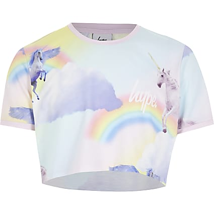 Girls Hype pink unicorn cropped T-shirt
