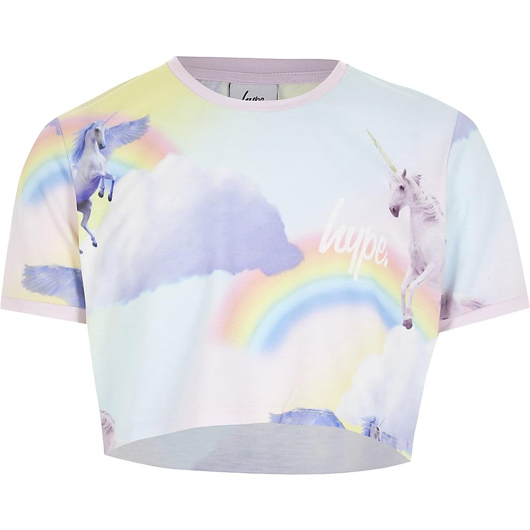 Girls Hype pink unicorn cropped T-shirt