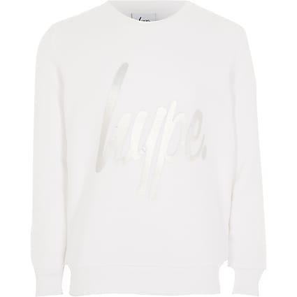 Girls Hype long sleeve white sweatshirt