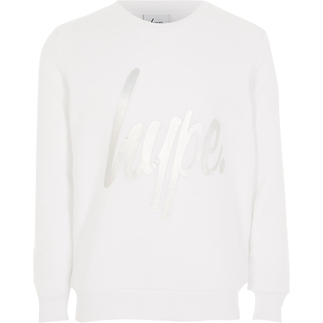 Girls Hype long sleeve white sweatshirt
