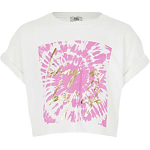 Girls white tie dye slogan crop T-shirt