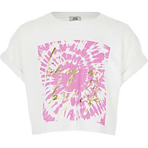 Wit tie-dye cropped T-shirt met slogan voor meisjes
