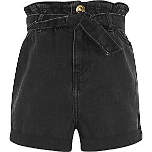 Zwarte washed denim short met geplooide taille voor meisjes