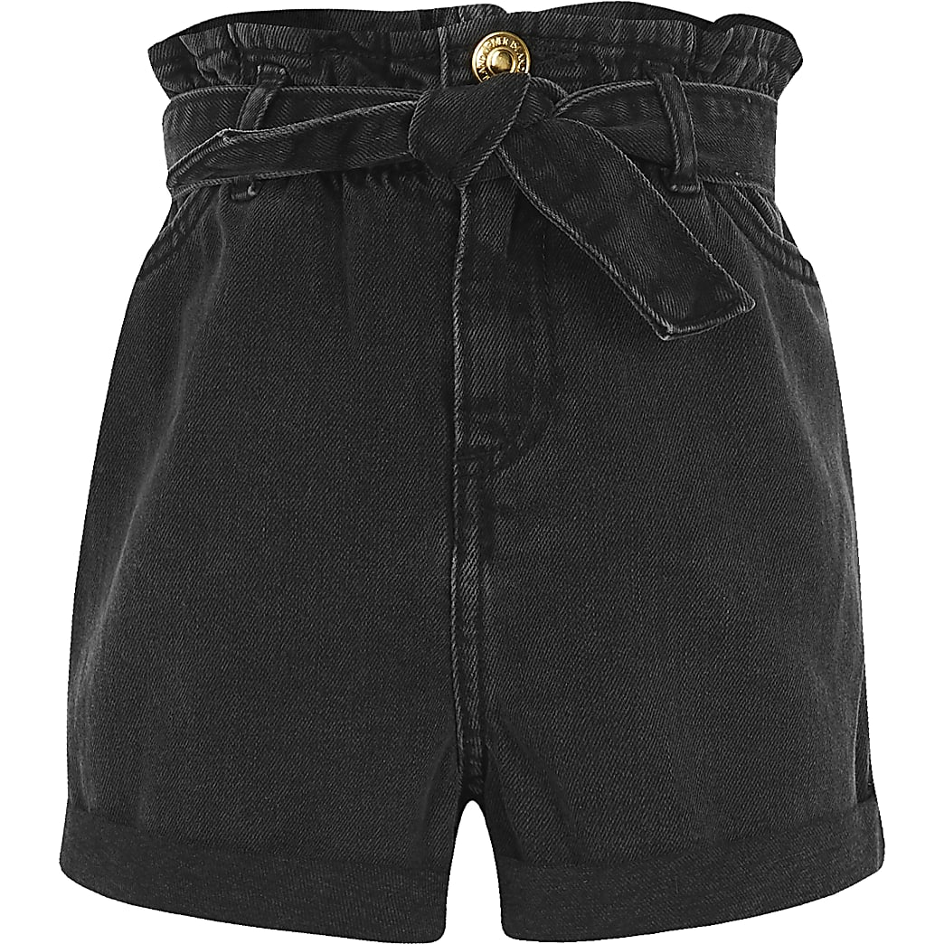 Girls black washed paperbag denim shorts