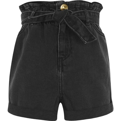 Girls black washed paperbag denim shorts