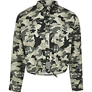 Girls camo tie front shirt